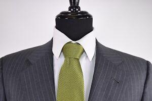 Armani-Collezioni-Suit-Sz-42L-In-Gray-W-Bold-Green-Pinstripes-Very-Recent-2Btn