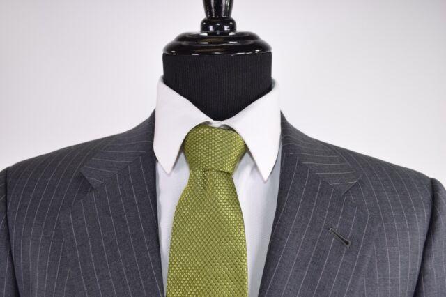 Armani Collezioni Suit Sz 42L In Gray W/ Bold Green Pinstripes Very Recent 2Btn