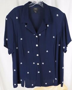Teddi 18p Navy Blue White Embroidery Shirt Short Sleeve Blouse Plus