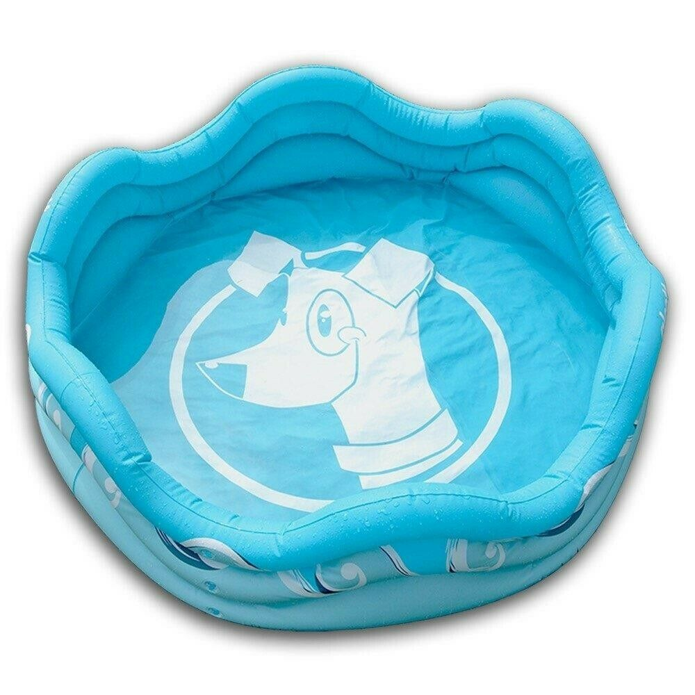 Inflatable Dog Pet Pool bluee 48  Round x 16  H