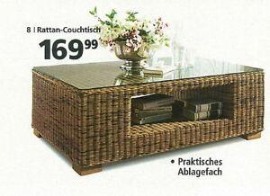 COUCHTISCH COFFE TABLE WOHNZIMMERTISCH RATTAN MIT GLAS 088