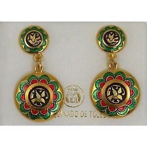 Damascene-Gold-Xmas-Enamel-Dove-of-Peace-Design-Drop-Earrings-Midas-Toledo-Spain