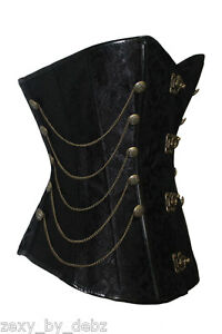 Corset-Black-Metal-Clasp-Chains-Steampunk-Goth-sizes-6-8-10-12-14