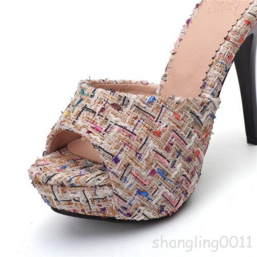 Women Stiletto Slip On Mule Shoes Summer Floral High Heels Slipper Platform 2018