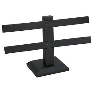 Black-Faux-Leather-2-Tier-T-Bar-8-Pair-Earring-Jewelry-Display-Holder-Stand
