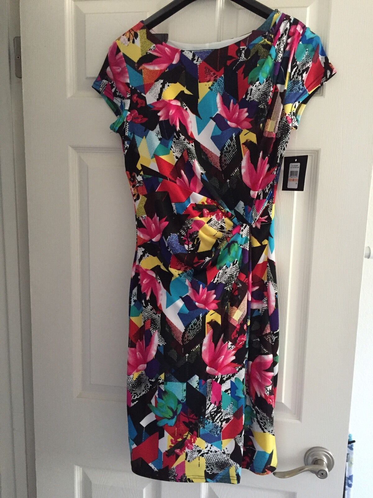 NWT Ellen Tracy Floral Cap Sleeve Sheath Dress sz 2 MultiFarbe Lined MSRP