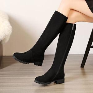 Casual-Wadenhohe-Stiefel-Damen-Schuhe-Runde-Zehe-Plusgroesse-34-48-Zipper-Boots