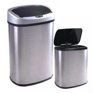 New-13-and-2-4-Gallon-Touch-Free-Sensor-Automatic-Stainless-Steel-Trash-Can-09R