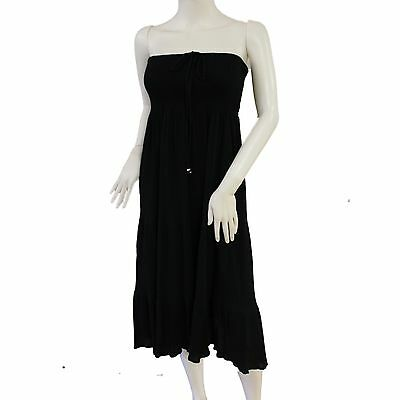 Bandeau Dress Pure Cotton Black Ladies Holiday Beach 2 In 1 Elastic Skirt