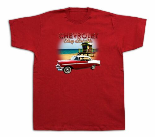 New Mens cotton Tshirt print Chevrolet chevy 1956 bel air Beach Sun Muscle Car