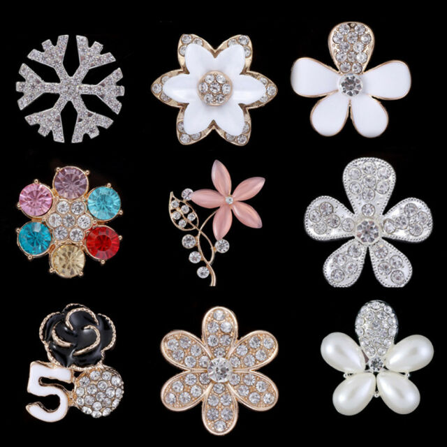 Enamel Flower Embellishments Rhinestone Phone Card Topper Craft Scrap-booking