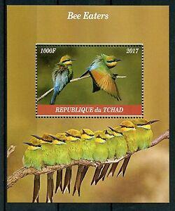 Chad-2017-Gomma-integra-non-linguellato-Bee-Eaters-Bee-mangiatori-1v-M-S-birds-stamps