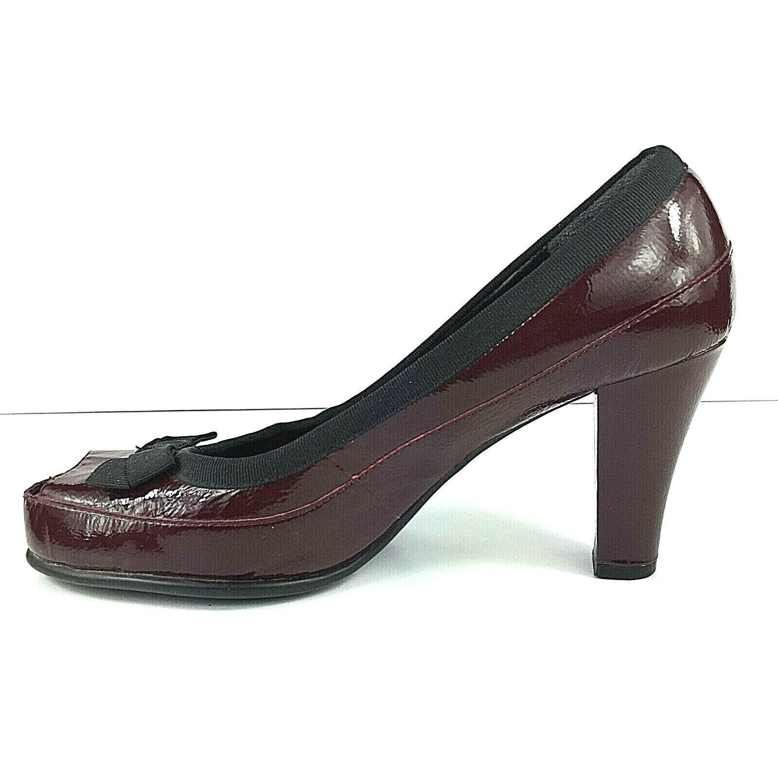 Aerosoles Benefit Leather Peep Toe Pumps Women's 8.5 Wine Burgundy Black Bow
