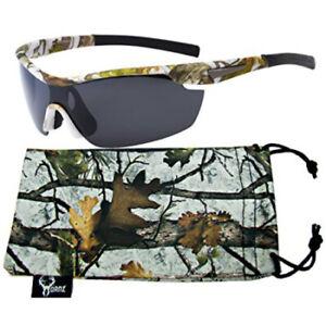 WRAP AROUND SPORT Hunting Fishing Military POLARIZED SUNGLASSES Camouflage Frame