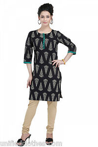 Indian-Bollywood-Cotton-Printed-Kurti-Tunic-Shirt-Top-Kurta-for-Women-MM49