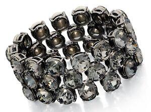 Fiorelli Fashion 26mm Black Rhodium Plated Crystal Stretch Ladies Cuff Bracelet