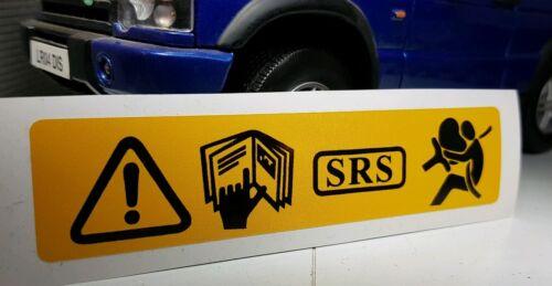 Land Range Rover Discovery 2 TDI V8 Panel Frontal Srs Airbag de advertencia calcomanía adhesivo