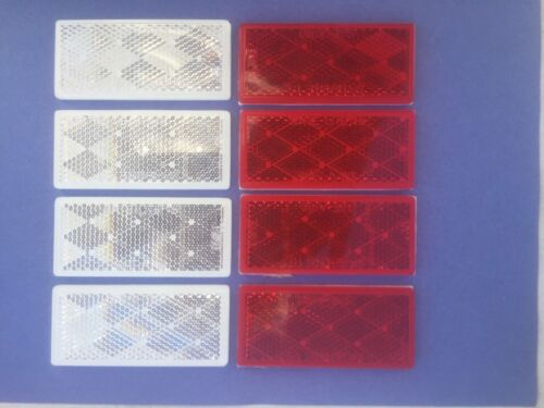 """SATE-LITE 3 1//4/"""" x 1 1//2/"""" RED /& WHITE  ADHESIVE BACKED REFLECTORS DOT 8 PCS"""