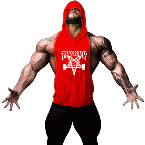 Men Muscle Workout Gym Tank Top Hooded Waistcoat Sports Hooded T Shirts Printed