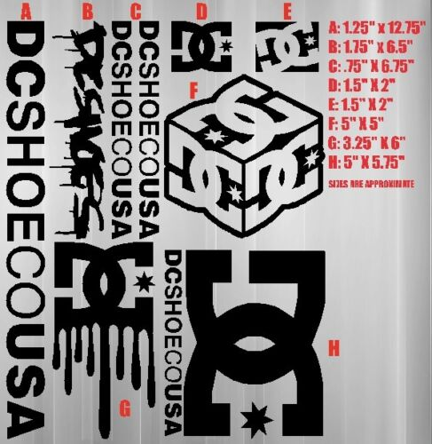 DC Shoes sticker bomb sheet decals skate surf moto snow car board truck tablet