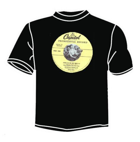 GENE VINCENT /'DANCE TO THE BOP/' BLACK T SHIRT  ROCK N ROLL TEDDY BOY ROCKABILLY