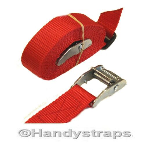 Cam Buckles Tie Down Straps 4 x 25mm 2.5 Metre  RED endless