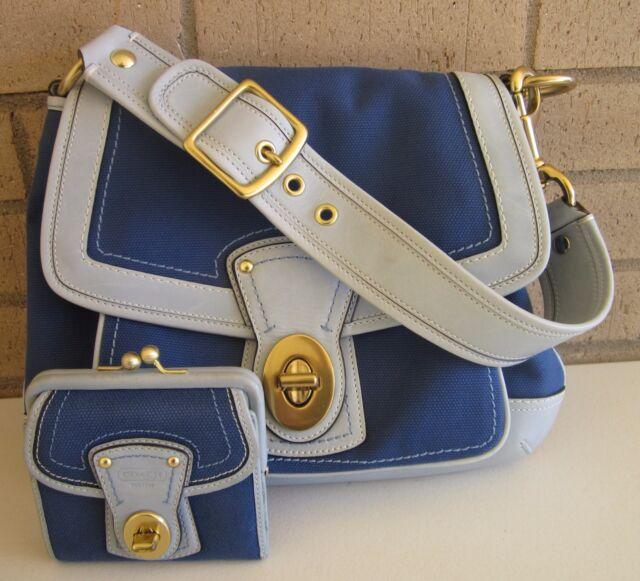 Coach Legacy Slim Ali Royal Baby Blue 2pc Purse & Wallet 10828 Rare Beauty