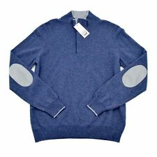 COUNTRY CLUB Blue Elbow Patch Wool Cashmere 1/4 Zip Jumper Sweater 50 M NWT