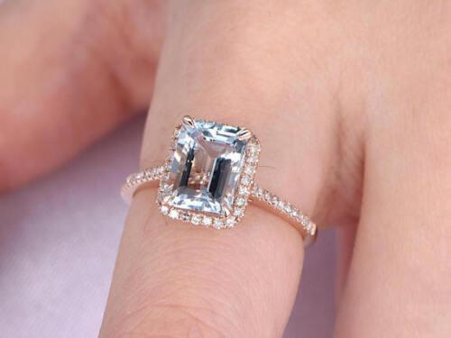 1ct Emerald Cut Aqua Blue Topaz Solitaire Engagement Ring 14k Rose Gold Finish