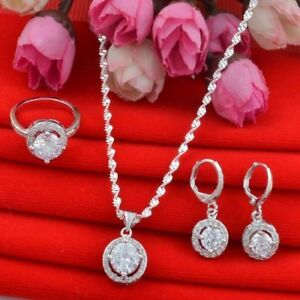 925-Silver-Clear-Round-Pendant-Jewelry-Set-Fashion-Necklace-Earrings-Ring-Women