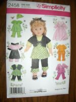 Simplicity Sewing Pattern 2458 Doll Clothes, One Size Craft Supplies