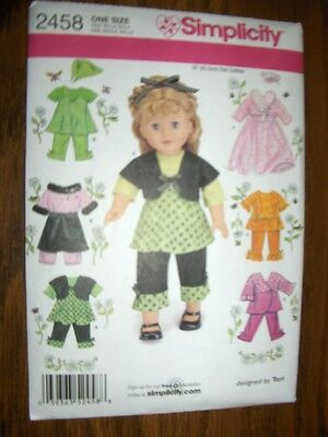 "18""DOLL NEW Simplicity 2458 Pattern Summer Clothing 7 Outfits Fits American Girl"