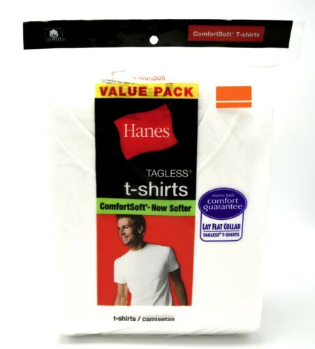 14 Hanes White L 42-44 Inch Crew Neck T-Shirts Tagless ComfortSoft G 105-110 CM