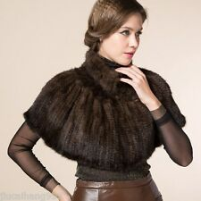 100% Genuine Mink Fur Shawl Poncho Women Knitted Mink Fur Cape Overcoat Jackets