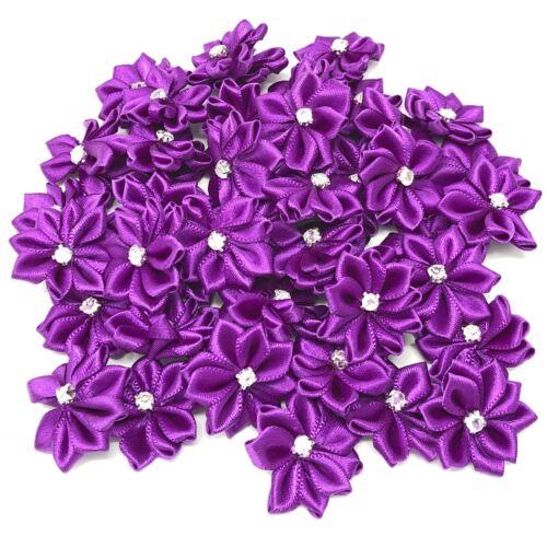 Púrpura cinta de raso flores y estrás Diamante Centro 25mm Artesanales Flor