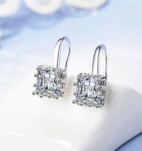 Square-Stone-Drop-Hook-Earrings-925-Sterling-Silver-Womens-Girls-Jewellery-Gift
