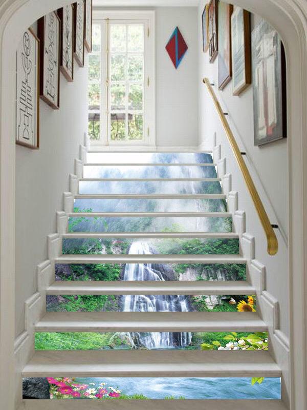 3D Mount Falls 532 Stair Risers Decoration Photo Mural Vinyl Decal Wallpaper UK