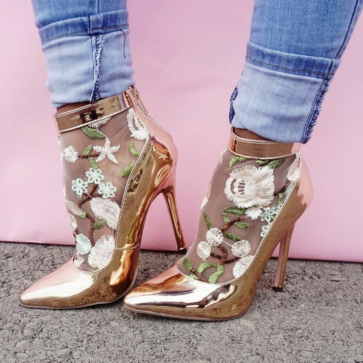 Rose Gold Floral Embroidered Mesh Ankle Bootie Heels, US 6 -10