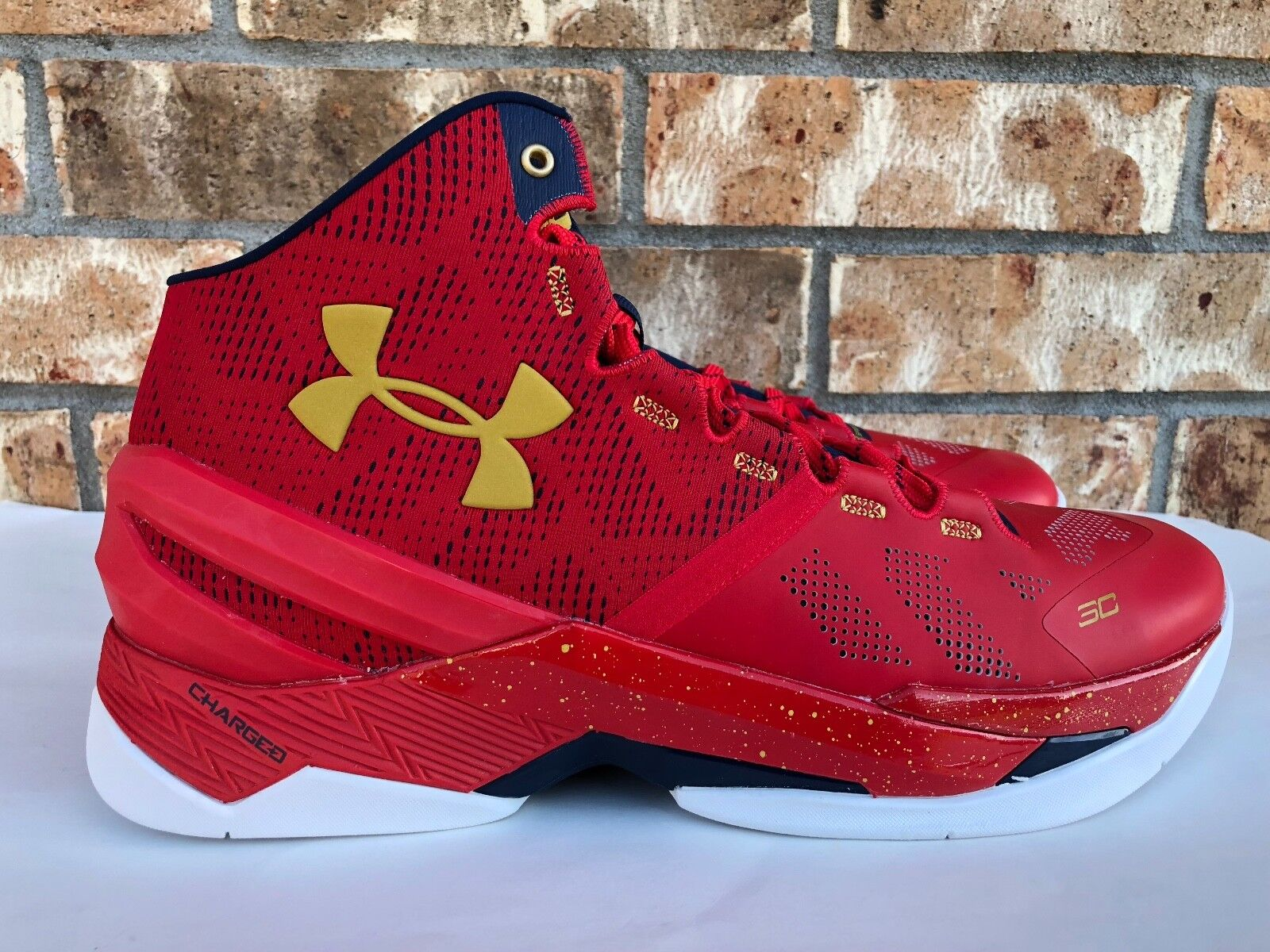 lowest price 9352d 8c920 Men s Under Armour Curry Curry Curry 2 Basketball Shoes General Red Gold SZ  11.5 1259007-