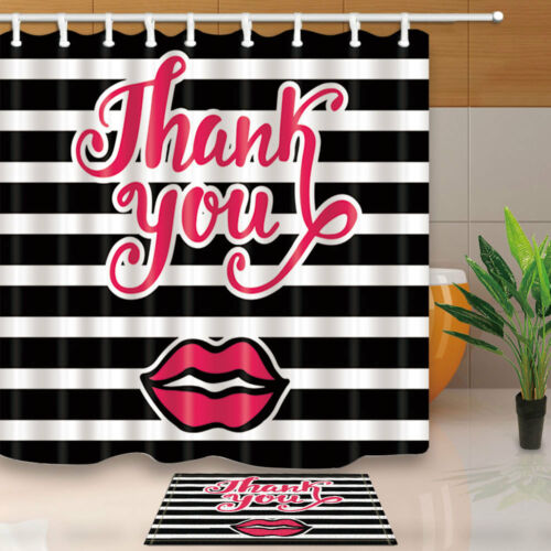 Fashion Shower Curtain set Red Lips With Black And White Stripe Bathroom Curtain