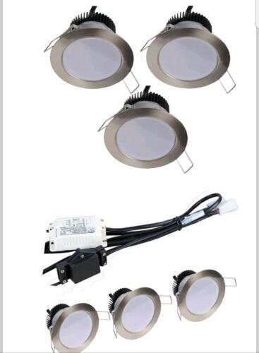 3 x Downlight fixed led In Brush chrome 4.5w 240v IP20 ceiling spotlights
