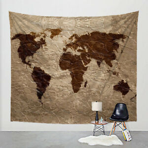 Details about Rustic World Map Wall Tapestry - 51