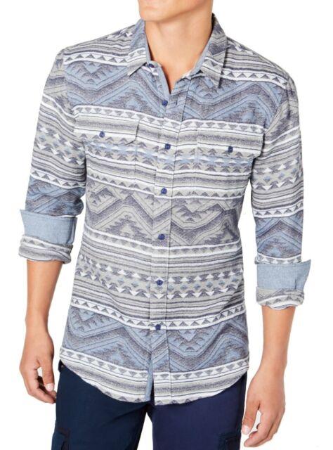 American Rag Mens Shirt Blue Size 2XL Button Down Jacquard Geometric $75 #115
