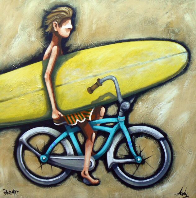 bicyling surfing beach art print poster canvas  Abstract Australia painting