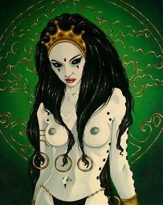 Goth female sorceress in black robe comic FANTASY ART