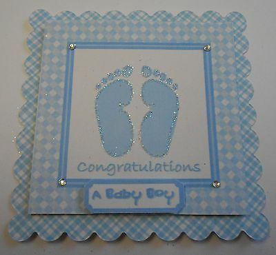 PK 2 BABY BOY FEET EMBELLISHMENT TOPPERS FOR CARDS OR CRAFTS