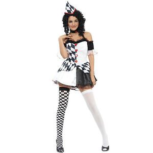 Payaso-Arlequin-Hembra-Adulto-Disfraz-de-Halloween-elegante-de-un-tamano