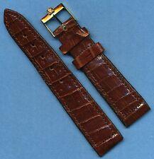 Vintage Omega Gold Buckle & 20mm Genuine Crocodile Strap Band For Speedmaster