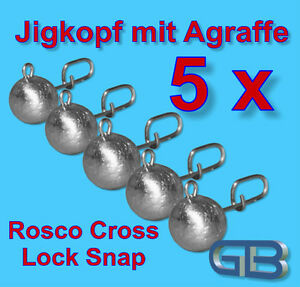 5-x-Flexi-Bleikof-10g-Jigkopf-mit-Agraffe-Rosco-Cross-Rundkopf-Twister