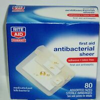 Rite Aid First Aid Antibacterial Sheer Bandages Antiseptic Pad Assorted Sz 80ct